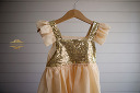 $20 Peach & Gold Sequined Dress Size 2-3
