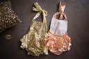 $20 Gold & Pink Sequined Oneies Size 6-12 Months